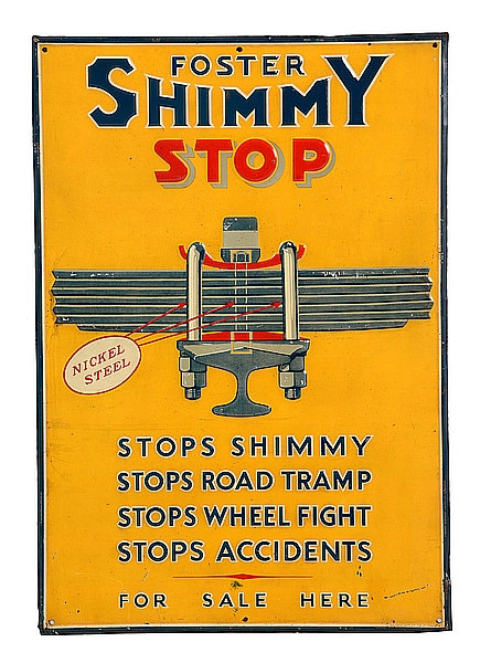 Foster Shimmy Stop metal sign