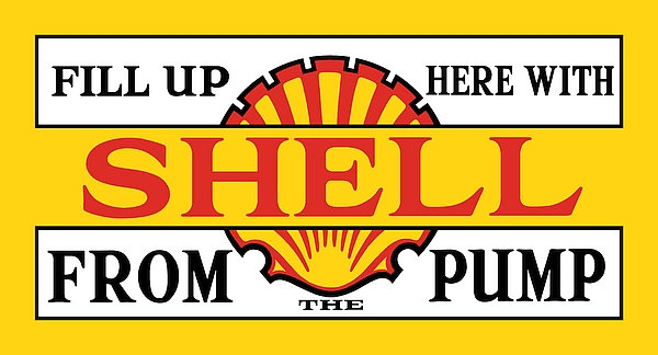 Fill Up Here With Shell From The Pump metal sign