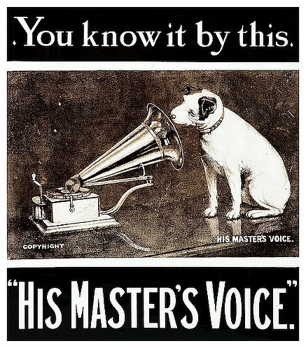 His Masters Voice classic metal sign