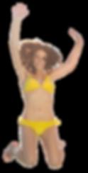 femme saute dans piscine