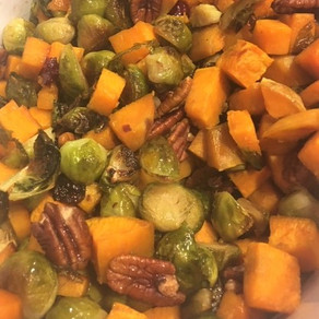 Honey Roasted Brussel Sprouts and Sweet Potatoes