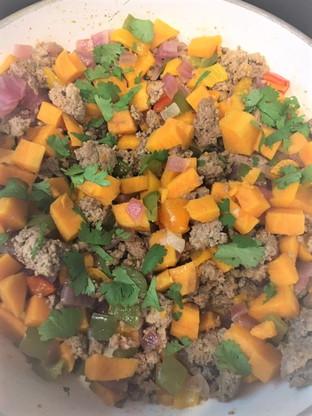 Sweet Potato and Ground Turkey Hash