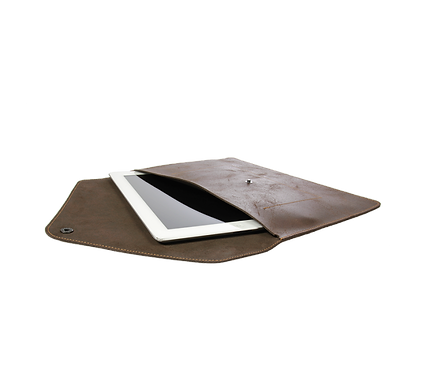 Pochette Enveloppe cuir col brun