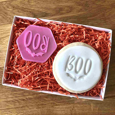 Boo with Bat Cookie Stamp