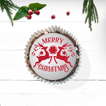 Merry Christmas Reindeers Cupcake Stencil