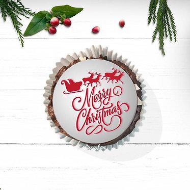 Merry Christmas Santa's Sleigh Cupcake Stencil