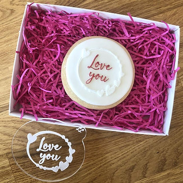 Love You with Heart Circle Cookie Embosser