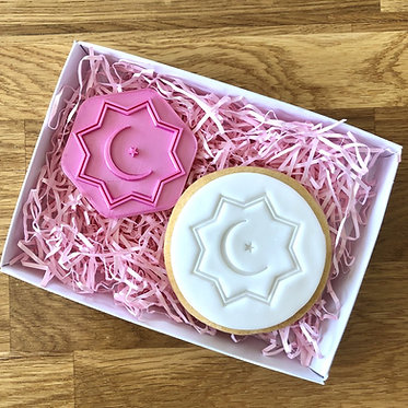 Geometric Moon and Star Cookie Stamp