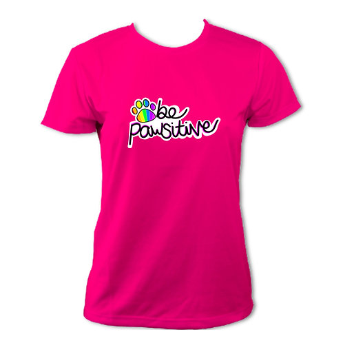 Be Pawsitive (Pink) Tech Tee Ladies