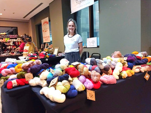 Mari at a yarn fest