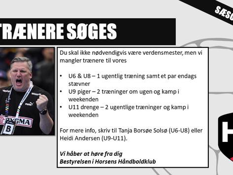 HJÆLP - TRÆNERE SØGES