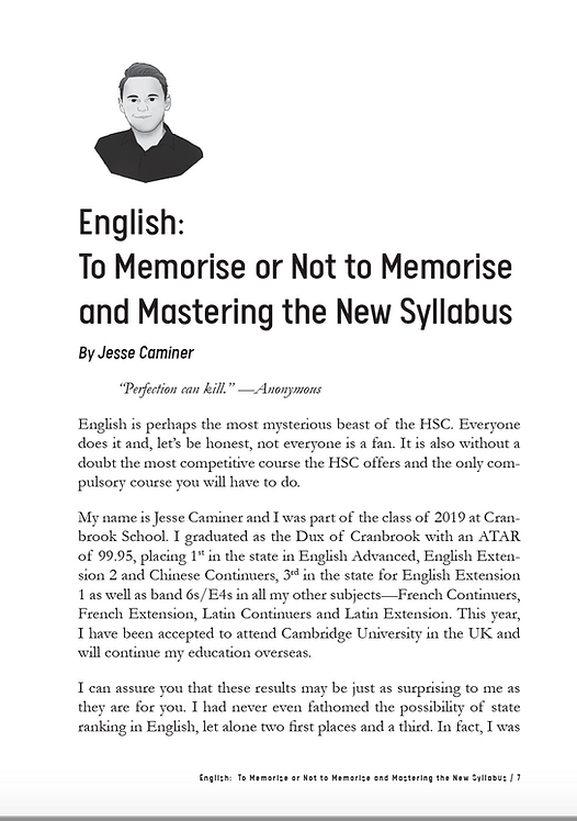 HSC English Study Guide by Jesse Caminer - 1st in NSW for Advanced/Ex2 English