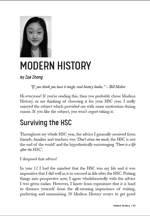 HSC Modern History Study Guide by Zoe Zhang - 1st in NSW in 2018