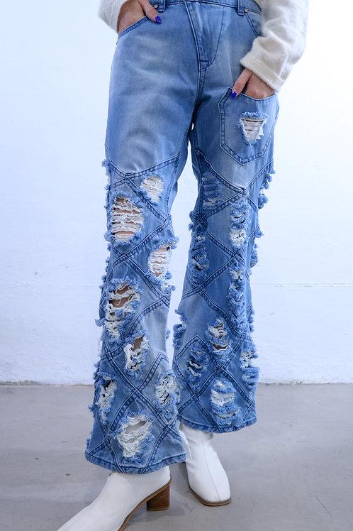 破爛形格牛仔褲