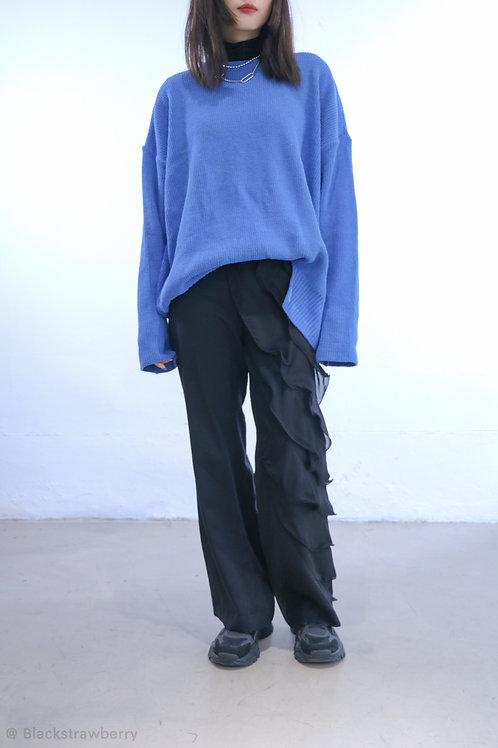 雪紡荷業邊優雅長褲