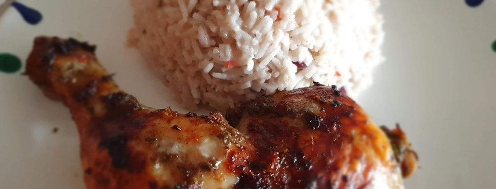 Jerk Chicken mit Rice & Peas