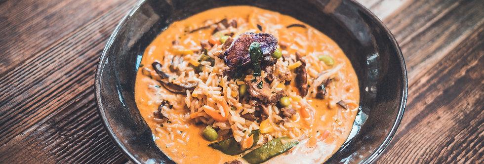 Freitag 26.02.21: Red Curry mit Rindfleisch und Gemüse – leicht pikant