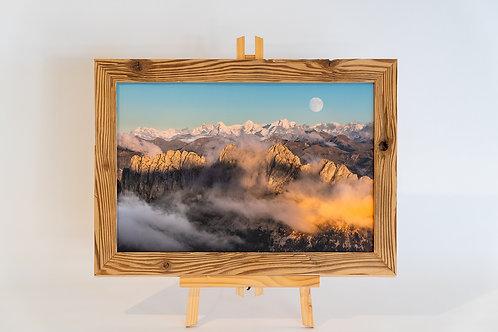 Gastlosen sur toile cadre en vieux bois