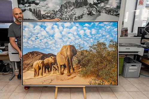 Eléphants du désert toile 180 x 120 cm avec caisse americaine