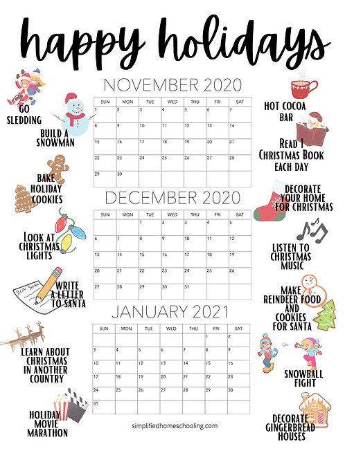 Happy Holidays Calendar
