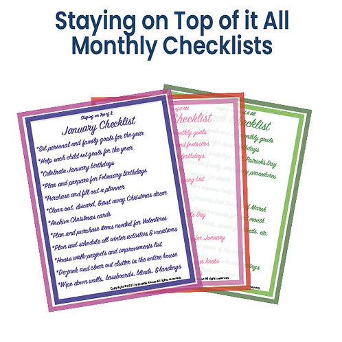 Staying on Top of it All, Monthly Checklist