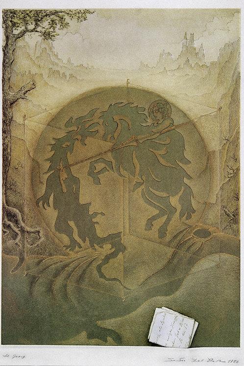 Lithographie: Der heilige Georg und der Drache Nr. 21/90