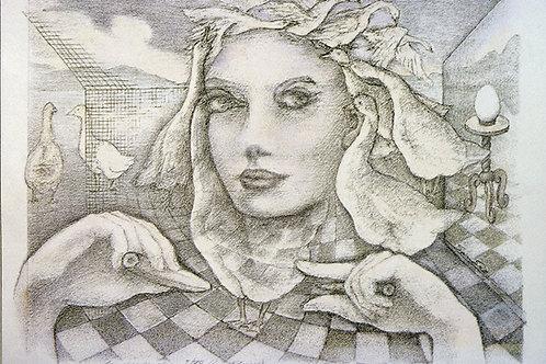 Original handkolorierte Federzeichnung: Die Gänsekönigin