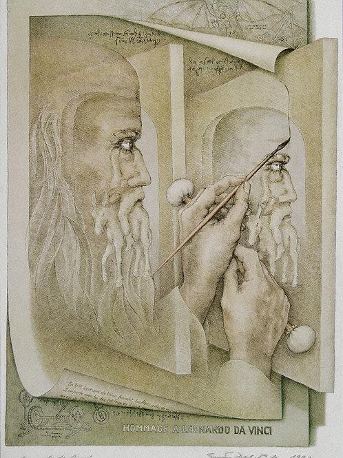 Lithographie: Homage an Leonardo da Vinci Nr. 34/90