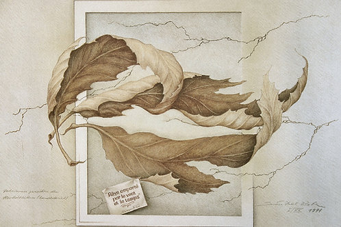 Lithographie: Geheimnis zwischen den Herbstblättern Nr. 57/90