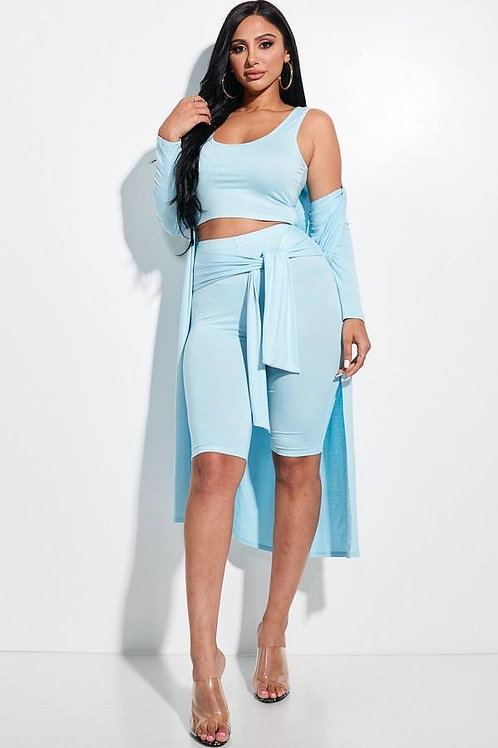 Biker Shorts And Duster 3 Piece Set