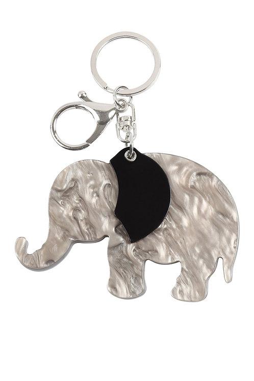 Kc417x030 - Elephant With Mirror Keychain