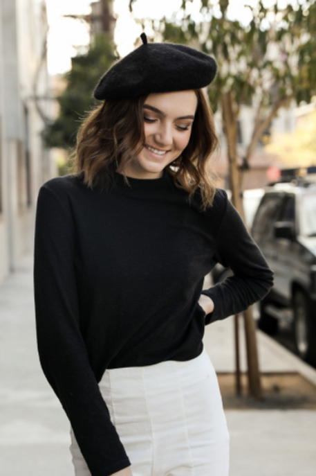 Black French Polyester Beret