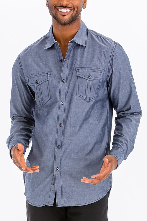 OUTLINE STITCH LONG SLEEVE BUTTON DOWN SHIRT