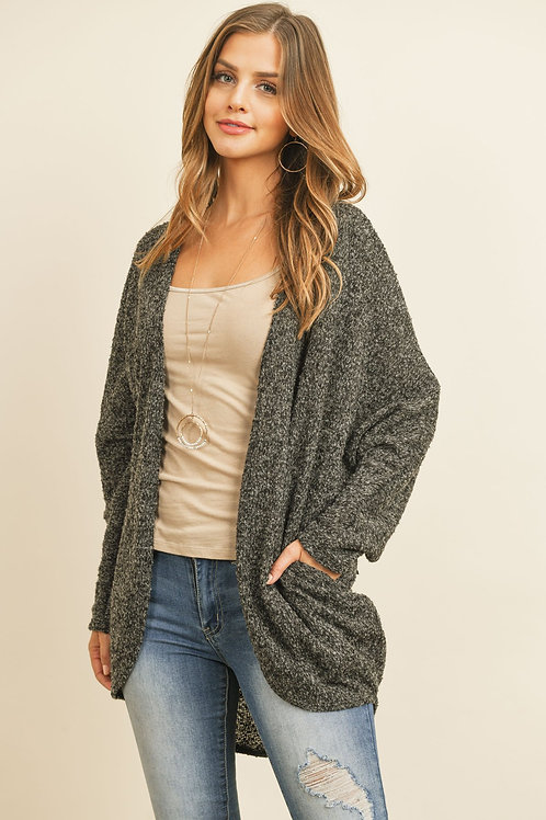 Two Toned Hacci Hi-Low Round Hem Open Cardigan