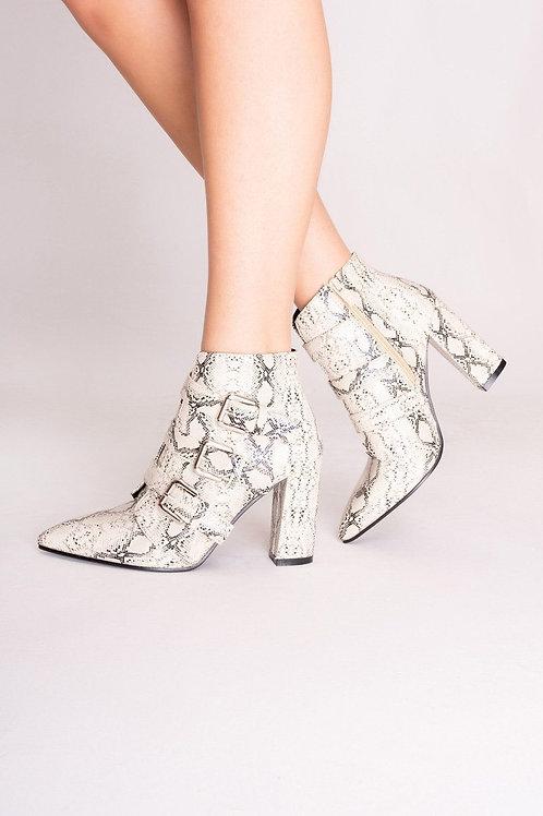 Harper Cream Snake Print Ankle Boots