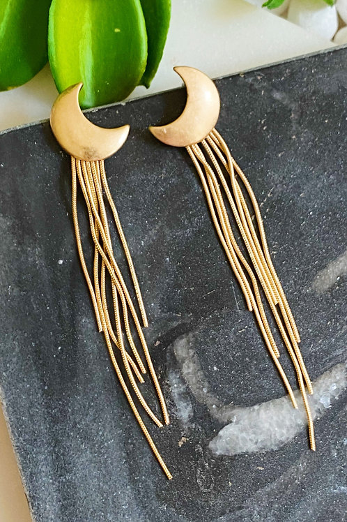 Moon Streams Earrings, Gold