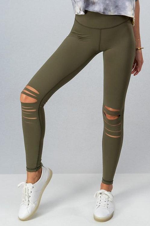 Simple Cutout Leggings- Olive