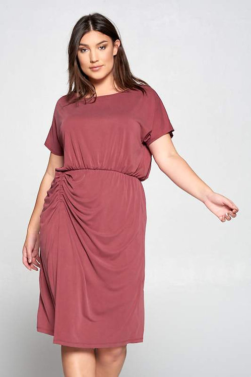 Extra Soft Pink Midi Dress with Scrunch Detail