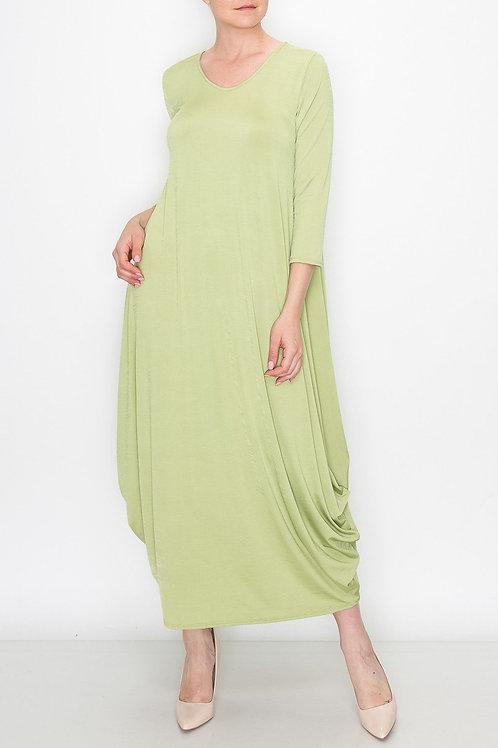 Solid Balloon Dress - Green