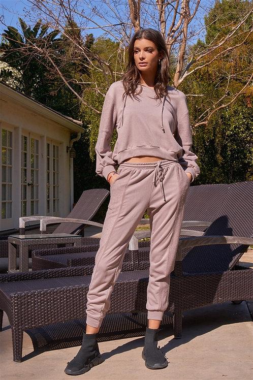 Raw Hem Relaxed Fit Hooded Sweatshirt Set