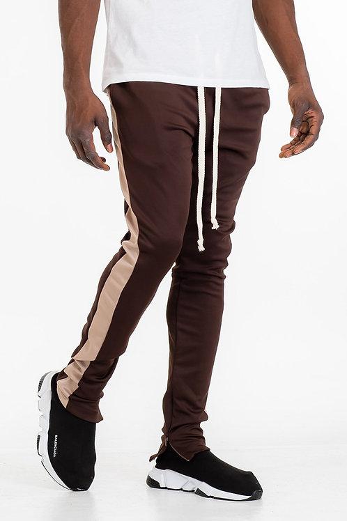 SKINNY FIT TRACK PANTS-  BROWN/ KHAKI