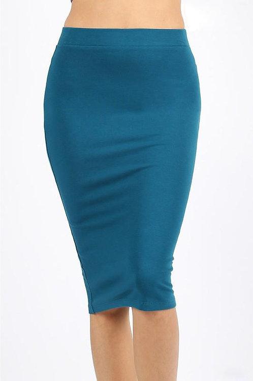 Premium Cotton Basic Knee Skirt