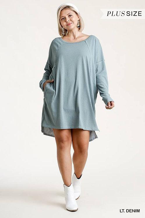 Raglan Sleeve Dress With Pockets