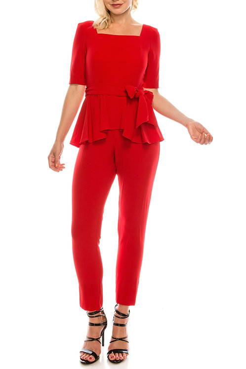 Gabby Skye Red Square Necklined Peplum Jumpsuit