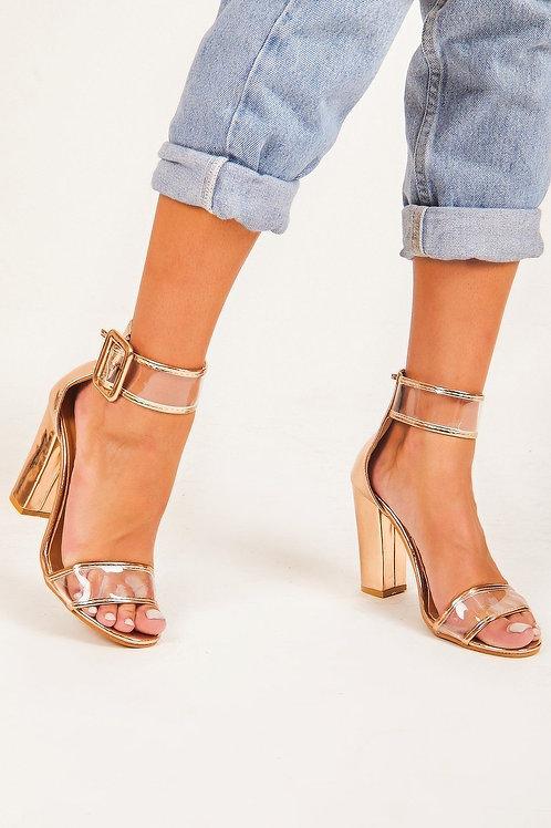 Amie Rose Gold Buckle Heels