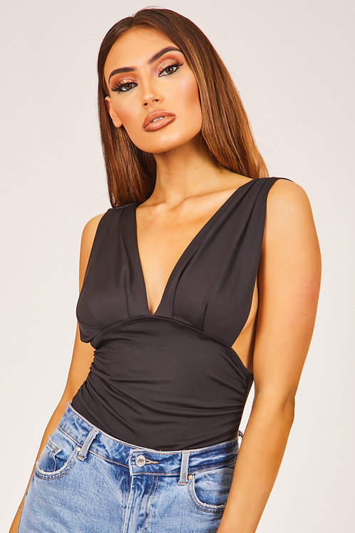 Black Plunge Neck Bodysuit