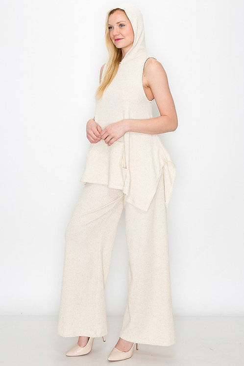 Sleeveless Hooded Top and Wide Leg Pants Set - Ivory