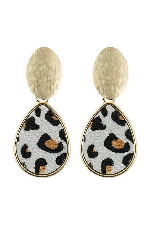 Hde2593 - Faceted Leopard Pear Shape Link Post Earrings
