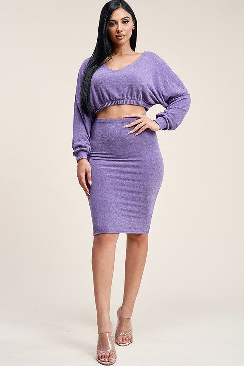 Cropped Top And Skirt Set