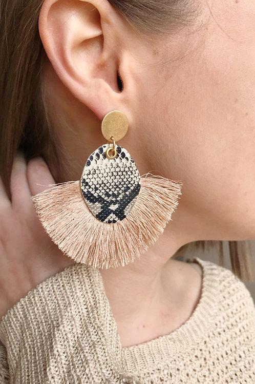 Snake Skin Fan Tassel Earrings